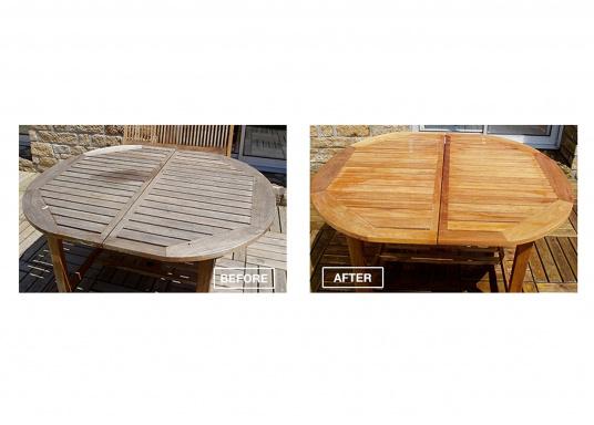 Reinigt mühelos alle Holzsorten, bringt graues Holz wieder in den Originalfarbton!Geeignet für Möbel, Terrassen, Boote etc. NET-TROL dienst als Reiniger, Aufheller, Entgrauer und Neutralisator nach stark alkalischen Behandlungen. (Bild 2 von 3)