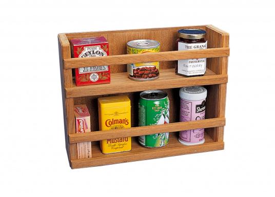 Eine echte Bereicherung für Ihre Bordküche: das praktische Teak Regal sieht edel aus und bietet genügend Platz für Ihre Gewürze. Abmessungen: 33,5 x 26 x 10,5 cm.