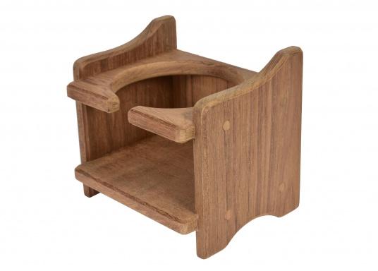 Becherhalter, gefertigt aus hochwertigem Teak-Holz.Loch-Ø: 8 cm, 12,5 x 11,5 x 10 cm.