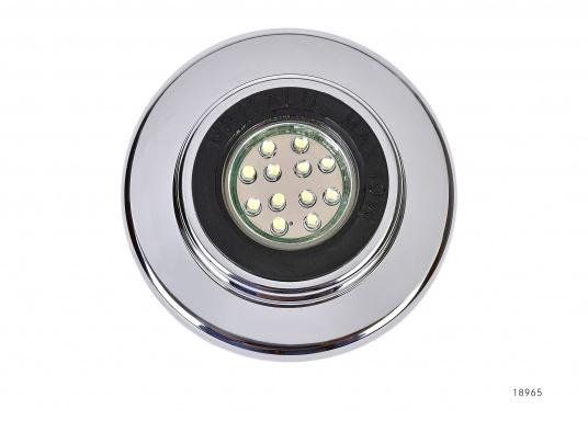 Eleganter LED-Einbaustrahler. Mit seinem verchromten Abdeckring ist dieser Strahler ein Schmuckstück für jede Inneneinrichtung. Ausgestattet mit 12 LEDs, Lichtfarbe warmweiß.