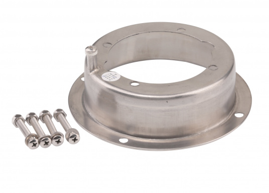Polished stainless steel mountingflange for the installation of an HTP hydraulic pumpin theexisting hole of a MTP pump or for a 38 mm recess installation.  (Image 2 of 3)