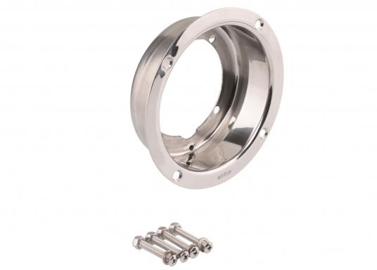 Polished stainless steel mountingflange for the installation of an HTP hydraulic pumpin theexisting hole of a MTP pump or for a 38 mm recess installation.  (Image 3 of 3)