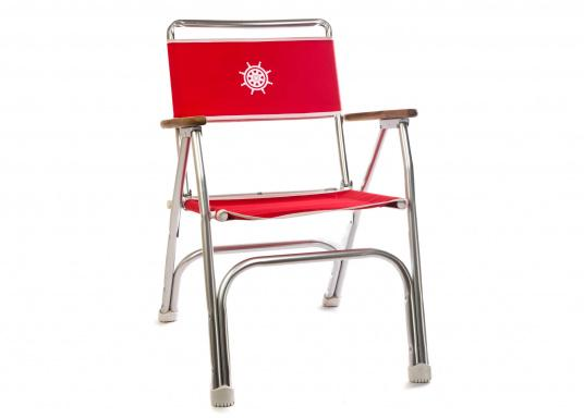 Stabil, korrosionsfest, praktisch zusammenklappbar und natürlich mit hohem Sitzkomfort! Decksstuhl aus solidem, seewasserbeständigem Alurohr mit Armlehnen aus Holz.