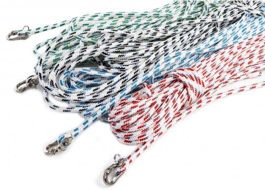 Ready to use pre-spliced halyard with snap-shackle. Available in different rope types, diameters, lengths and colors.