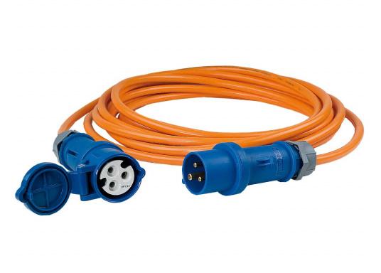 Verlängerungskabelmit CEE-Anschlussdosen und PUR-Mantel. Beständig gegen Öl, Fette, Benzin, Wasser, UV-Strahlen etc. Belastbarkeit 16 Ampere. Erhältlich in zwei Ausführungen.