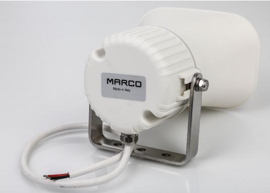 Hochwertig und kompakt! Dieser Hornlautsprecher wurde speziell für Gegensprechanlagen auf See und in anderen industriellen Umgebungen konzipiert. Das Gerät kann gleichzeitig als Lautsprecher und Mikrofon verwendet werden. (Bild 2 von 3)