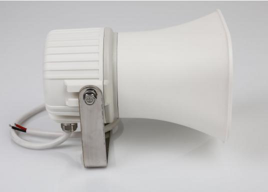 Hochwertig und kompakt! Dieser Hornlautsprecher wurde speziell für Gegensprechanlagen auf See und in anderen industriellen Umgebungen konzipiert. Das Gerät kann gleichzeitig als Lautsprecher und Mikrofon verwendet werden. (Bild 3 von 3)