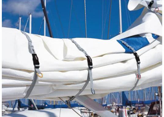 Sicher eingebunden! Das 25 mm breite Gurtband ist in der Länge verstellbar –hervorragend zum sicheren einbinden von Segeln. Lieferbar in 3 unterschiedlichen Größen. Packungsinhalt: 3 Stück. (Bild 3 von 3)