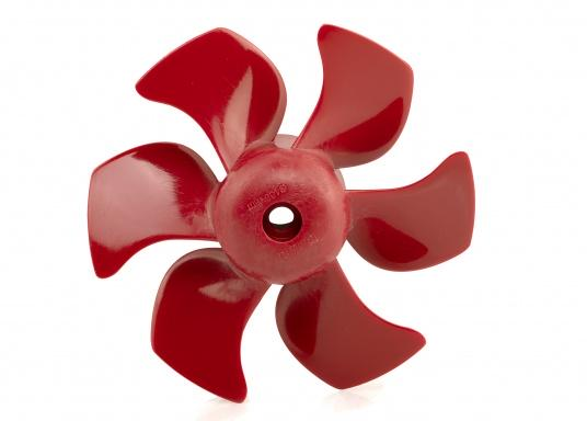 6-Blatt-Propeller für Bugschrauben mit einem hydrodynamisch optimierten Wirkungsgrad. Der Propeller verursacht nur sehr wenig Kaviation und hat einen sehr niedrigen Geräuschpegel. Erhältlich in verschiedenen Ausführungen.