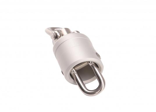 Kompakter, kugelgelagerter Drehwirbel aus Aluminium mit zwei Rundstahlschäkeln in 5 mm Stärke. Bruchlast: ca. 1000 kg, Arbeitslast: ca. 500 kg. (Bild 2 von 2)