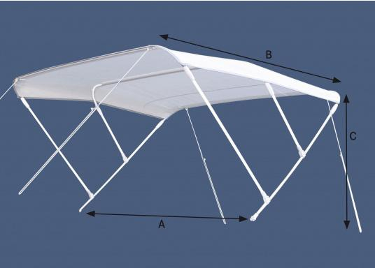 Awnings made out of UV resistant, waterproof and lightweight polyester. Suitable for use up to a max. speed of 40 km/h. Available in blue and white, each in different sizes.  (Image 3 of 7)
