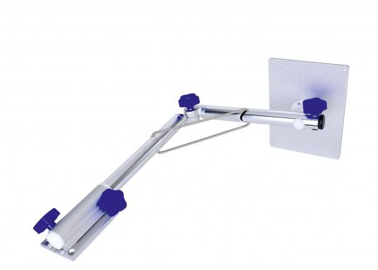 Das praktische Tisch-Untergestell ist klappbar und schwenkbar und kann leicht von der Montageplatte gelöst werden. Passende Tischplatten sind optional erhältlich.  (Bild 4 von 12)