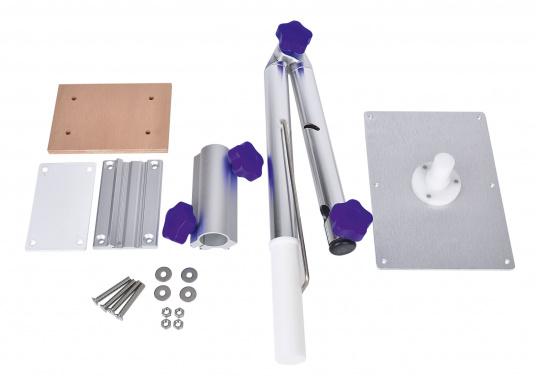 Das praktische Tisch-Untergestell ist klappbar und schwenkbar und kann leicht von der Montageplatte gelöst werden. Passende Tischplatten sind optional erhältlich.  (Bild 12 von 12)