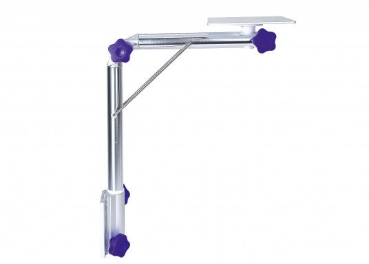 Das praktische Tisch-Untergestell ist klappbar und schwenkbar und kann leicht von der Montageplatte gelöst werden. Passende Tischplatten sind optional erhältlich.  (Bild 2 von 12)