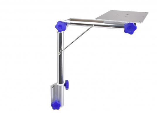 Das praktische Tisch-Untergestell ist klappbar und schwenkbar und kann leicht von der Montageplatte gelöst werden. Passende Tischplatten sind optional erhältlich.