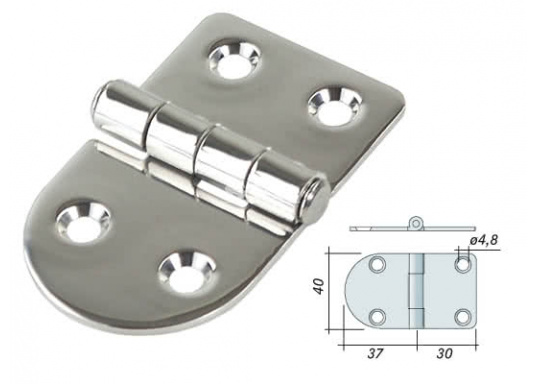 Elegant, rounded stainless steel hinge.