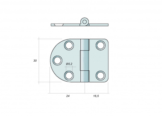Abgerundetes Edelstahl-Scharnier mit dem Gelenk wahlweise unten oder oben. (Bild 2 von 2)