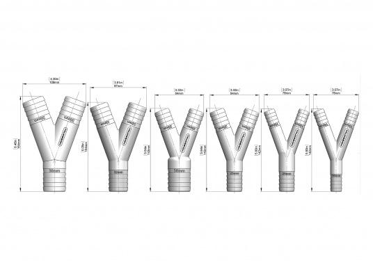 Robuste Y-Verteiler, gefertigt aus glasfaserverstärktem Nylon-Verbundstoff, lieferbar mit verschiedenen Schlauchanschlüssen.  (Bild 3 von 3)