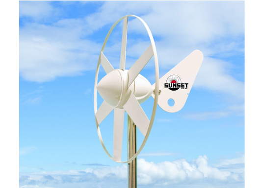 Particularly suitable for use in the leisure sector to maintain battery charge in boats, summer houses, mountain shelters or mobile homes. This wind generator offers a high efficiency due to its aerodynamic design. (Image 2 of 2)