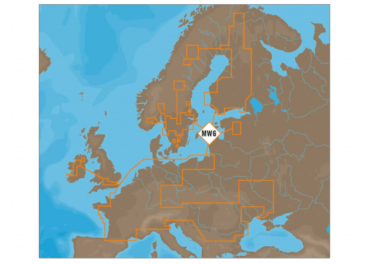 C-MAP MAX Format Fahrtgebiet MegaWide: MW6 - Rhein, Rhone, Po, Italien Lakes, Swiss Lakes, Austrian Lakes, Balaton, French Inland, Dutch Inland, Belgium Inland, Danube, Volga, Dniepr, Finnish Lakes, Swedish Lakes.