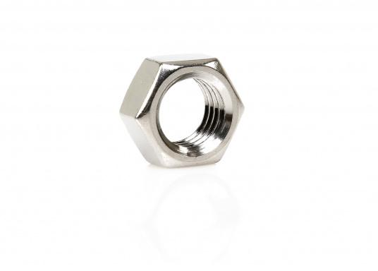 Stainless steel lock nuts with metrical left-hand thread. Several sizes.