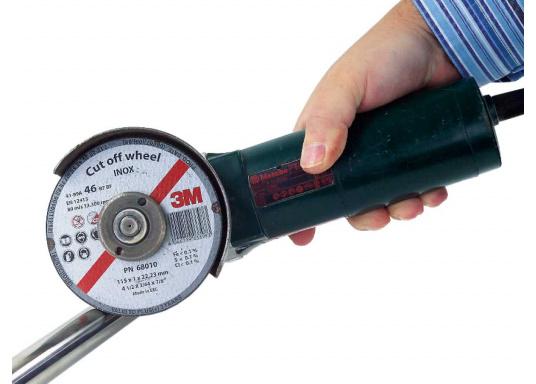 Die Trennscheibe ermöglicht schnelles und sicheres Durchtrennen von Metall. Diese INOX-Variante ist für Edelstahl und auch andere Metalle geeignet. Die Scheibe ermöglicht dank ihrer geringen Stärke von 1 mm sehr präzise Schnitte. (Bild 3 von 3)