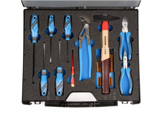 Gerüstet für alle Fälle –mit diesem Werkzeugkoffer haben Sie alles immer sofort griffbereit!Alle 47 verchromten GEDORE Vanadium-Werkzeuge sind gut eingeordnet und fest eingeklemmt. (Bild 7 von 8)