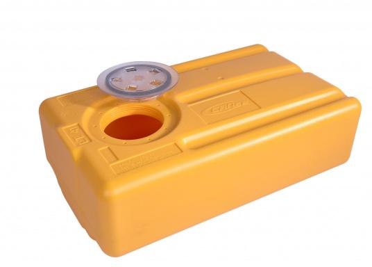 Dickwandige, geruchsfeste Tanks für den vertikalen Einbau über der Wasserlinie. Ein Absaugrohr, Borddruchführungen und eine Gurtband-Halterung sind separat erhältlich. Der Tank ist lieferbar in verschiedenen Größen.  (Bild 3 von 11)