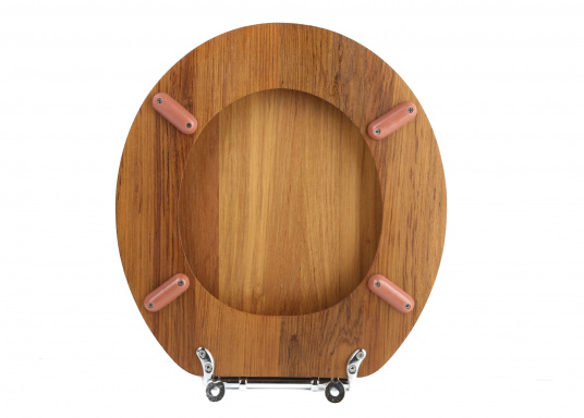 Dieser Toilettensitz aus Voll-Teak ist passend für fast alle runden Toiletten. Für ovale Toiletten können Sie die verchromten Vollmessingbeschläge einfach umdrehen bzw. anpassen.  (Bild 4 von 5)