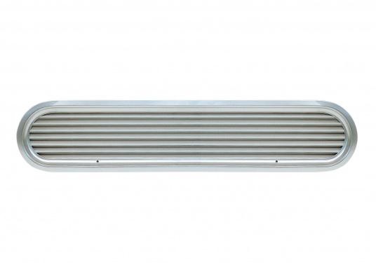Grille de ventilation vetus en aluminium anodisé mat avec cadre en aluminium poli.