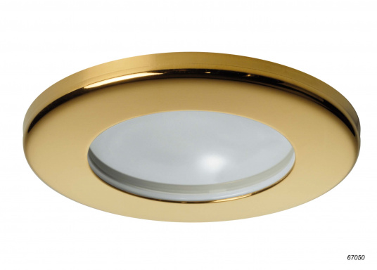 TEO ceiling spotlight incl. 12 V halogen lamp. Can also be converted to LED. Socket: G4. Colour: polished gold.