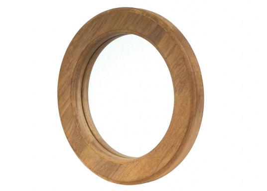 Runder Teak-Spiegel mit massivem, 3 cm starken Rahmen und hochwertiger Spiegelfläche.