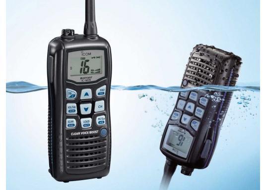 Das UKW-Handfunkgerät IC-M35 setzt auf gute Verständlichkeit und klare Sprache. Die flache Bauweise und die großen Tasten sorgen für eine angenehme Handhabung.   (Bild 3 von 3)