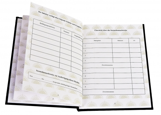Das Meilenbuch ist notwendig für den Nachweis praktischer Erfahrungen an Bord für die Zulassung zu den Führerscheinprüfungen des SKS, SSS und SHS. (Bild 3 von 4)