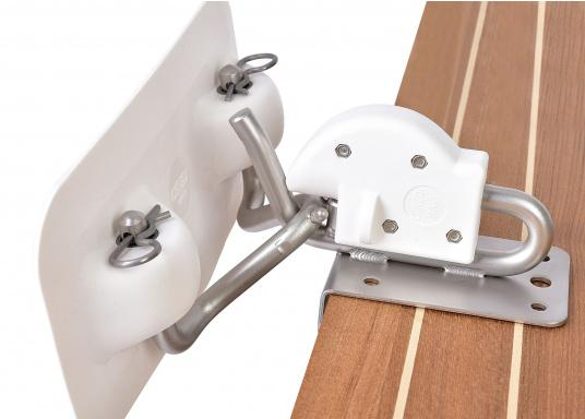 This is a handy and secure bracket holder for small boats. Set on platforms, the transom or on the swim platform. Spacer bars and special adhesive are sold separately. These are the fittings that you will need for attaching to your tender.