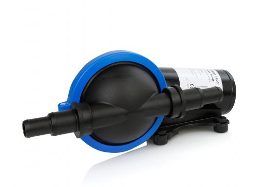 Potente pompa di sentina e pompa maceratrice. Installazione flessibile e design compatto. Disponibile nei due modelli, ciascuna in 12 volt (8 A) e 24 v (2,5 A).