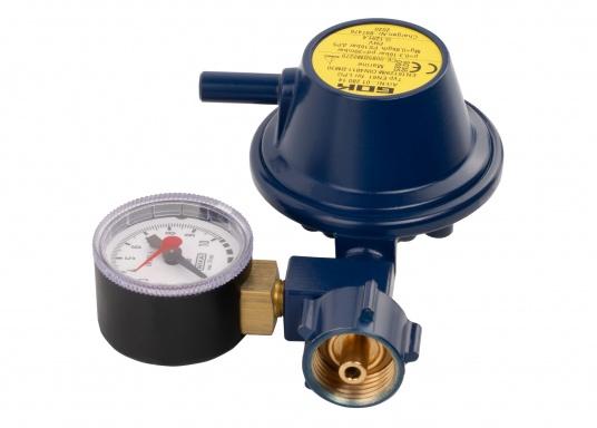 Der Marinegasregler ist geeignet zum Anschluss an Flüssiggasflaschen bis zu 14 kg Füllgewicht.Durchfluss: 0,8 kg/h. Lieferung inklusive Manometer.