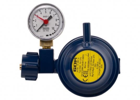 Der Marinegasregler ist geeignet zum Anschluss an Flüssiggasflaschen bis zu 14 kg Füllgewicht.Durchfluss: 0,8 kg/h. Lieferung inklusive Manometer.  (Bild 2 von 3)