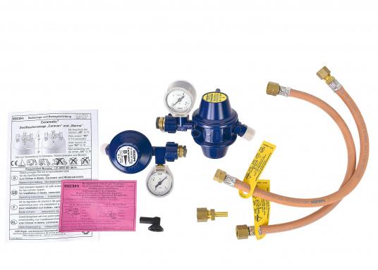 Regler-Umschaltautomatik für Flüssiggasflaschen, geeignet zum Einbau in Boot und Caravan. Die Zweiflaschenanlage schaltet automatisch von der leeren Betriebsflasche zur Reserveflasche. (Bild 5 von 6)