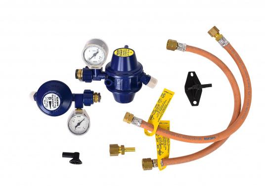 Regler-Umschaltautomatik für Flüssiggasflaschen, geeignet zum Einbau in Boot und Caravan. Die Zweiflaschenanlage schaltet automatisch von der leeren Betriebsflasche zur Reserveflasche. (Bild 6 von 6)