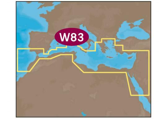 Neue Fahrtgebiete WIDE! Noch größer! Noch praktikabler! Mit Wetter-Vorschau Karten-Overlay, Satelliten Karten-Overlay, und den besten Seekartenmodulen. W83 – South Mediterranean Sea and Agean Sea.