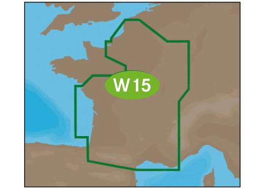 Neue Fahrtgebiete WIDE! Noch größer! Noch praktikabler!Mit Wetter-Vorschau Karten-Overlay, Satelliten Karten-Overlay, und den besten Seekartenmodulen.W15 – France Inland.
