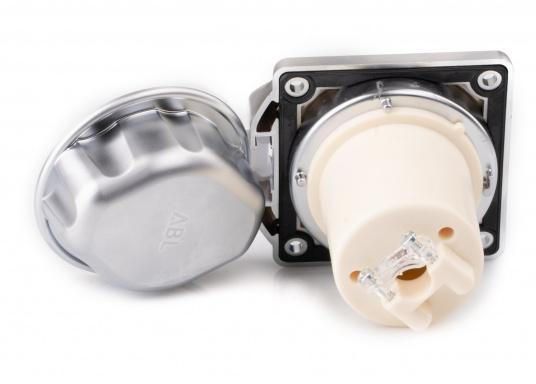 3-poliger Landanschluss im hochwertigen Design mit verchromter Oberfläche. IP56 wassergeschützt, 16 A, 230 V.  (Bild 4 von 5)