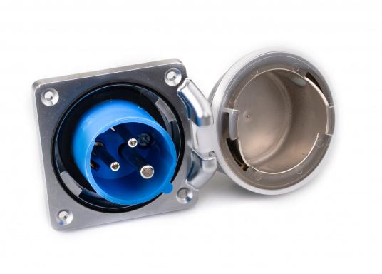 3-poliger Landanschluss im hochwertigen Design mit verchromter Oberfläche. IP56 wassergeschützt, 16 A, 230 V.  (Bild 2 von 5)