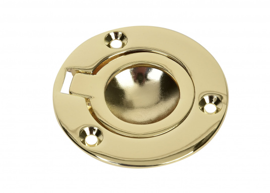 This polished brass flush ring pull is a real eye-catcher. Sturdy quality. Diameter: 55 mm. Mounting holes diameter: 3 mm.