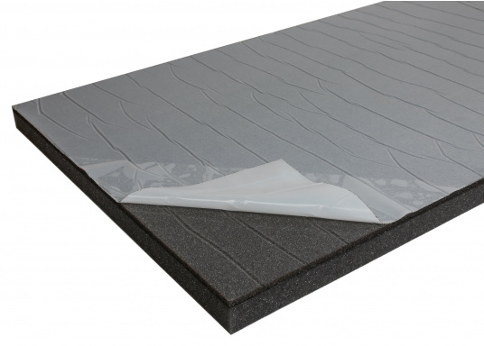 Optimum soundproof solution for engine rooms. These insulation panels are made of a soft foam based on polyether covered with aluminum-metallized PES film. Two versions are available.  (Afbeelding 2 of 7)