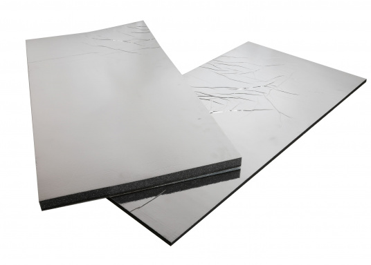 Optimum soundproof solution for engine rooms. These insulation panels are made of a soft foam based on polyether covered with aluminum-metallized PES film. Two versions are available.  (Afbeelding 4 of 7)