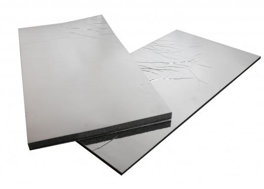 Optimum soundproof solution for engine rooms. These insulation panels are made of a soft foam based on polyether covered with aluminum-metallized PES film. Two versions are available.  (Image 4 of 7)