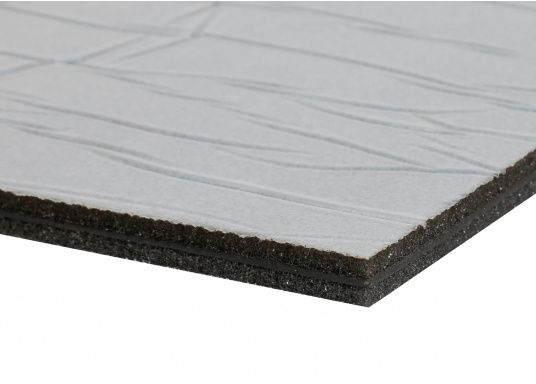 Optimum soundproof solution for engine rooms. These insulation panels are made of a soft foam based on polyether covered with aluminum-metallized PES film. Two versions are available.  (Afbeelding 7 of 7)