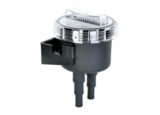 Robuster Seewasserfilter mit großem Filterbehälter. Der Seewasserfilter hat eine Quick-fit-Halterung zur schnellen Installation und Reinigung.